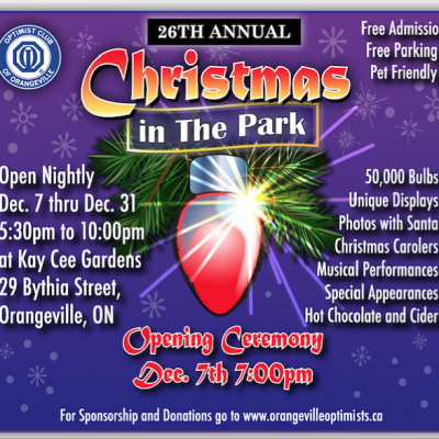 26th Annual Christmas in the Park & Extended Holiday Hours